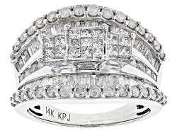 OJR033<br>Diamond 2.00ctw Princess Cut With Round And Baguette 14k White Gold Ring
