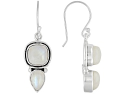 NUH378E<br>Artisan Gem Collection Of India, Cushion And Pear Shape Rainbow Moonstone Sterling Silver