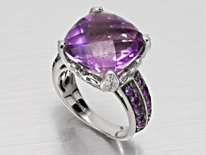 "Brazilian amethyst, 11.50ct square cushion checkerboard cut with .66ctw round Africn amethyst sterling silver ring. Measures approximately 9/16""L x 1/8""W. Not sizeable. Black and white rhodium plated. Estimated Appraisal Value $225.00"