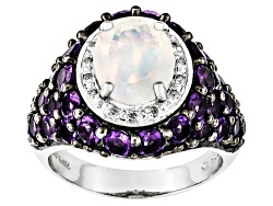 DAH243<br>Ethiopian Opal 1.69ct With 2.70ctw African Amethyst And .04ctw White Diamond Sterling Silv