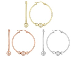 BSC810<br>Rhodium And 18k Yellow And Rose Gold Over Sterling Silver Bead Design Tube Hoop Earrings S
