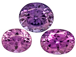 XTP224<br>Set Of 3 Sri Lankan Untreated Purple Sapphire 2.26ctw Mm Varies Oval
