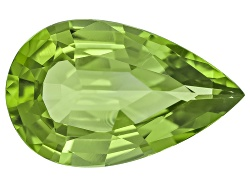 XTP1015<br>Burmese Strong Yellowish Green Peridot 6.77ct 17.07x10.65mm Pear Shape With Gemworld Repo