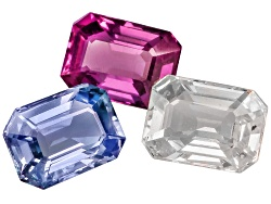 XTP1025<br>Untreated Madagascan Multi Color Sapphire Set Of Three 3.88ctw Mm Varies Emerald Cut