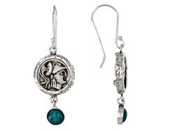 ISL258<br>Artisan Collection Of Israel(Tm) Round Cabochon Turquoise Silver Warrior Coin Replica Earr