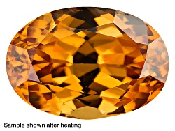 ZNV286<br>Yellow Reserve Zircon Min 2.25ct 9x7mm Oval Color Varies Caution: Heat Sensitive