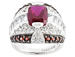 ILH421<br>2.60ct Lab Created Ruby, .80ctw Vermelho Garnet(Tm) And 1.81ctw White Topaz Silver Ring