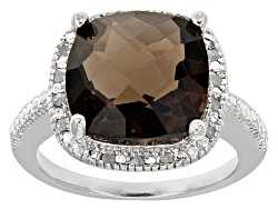 DOCY275<br>6.00ct Square Cushion Smoky Quartz With .10ctw Round White Diamonds Sterling Silver Ring