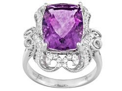 JPH073<br>6.80ct Rectangular Cushion Purple Fluorite With .31ctw Round White Zircon Sterling Silver