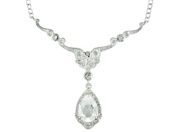 MXH421<br>2.19ctw Pear Shape And Round White Topaz Sterling Silver Necklace