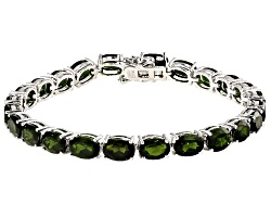 DOCY429<br>20.00ctw Oval Chrome Diopside Sterling Silver Tennis  Bracelet