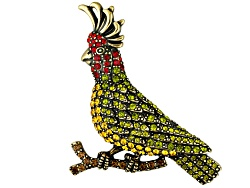 OPJ985<br>Off Park (R) Collection Multicolor Crystal Antiqued Gold Tone Cockatoo Pin