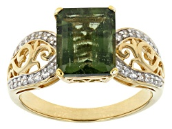 SYF100<br>2.12ct Emerald Cut Moldavite With .17ctw  Round White Zircon 18k Gold Over Silver Ring