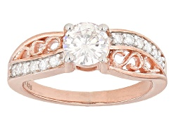 MSN724<br>Moissanite Fire(R) 1.04ctw Dew Round 14k Rose Gold Over Silver Ring