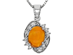 TEH289<br>.85ct Oval Cabochon Orange Ethiopian Opal With .47ctw White Zircon Silver Pendant With Cha