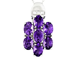 NGH018<br>3.98ctw Oval Uruguayan Amethyst With .08ctw Round White Zircon Sterling Silver Pendant Wit