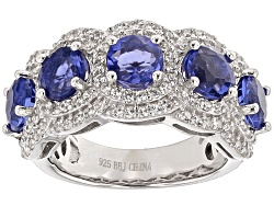TEH492<br>2.75ctw Round Color Change Blue Fluorite And .97ctw Round White Zircon Silver 5-stone Band