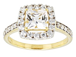 KOT008<br>.95ct Princess Cut White Danburite And .75ctw Round White Zircon 10k Yellow Gold Ring