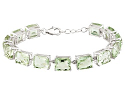 OCH220<br>39.00ctw Rectangular Checkerboard Cut Prasiolite Sterling Silver Bracelet