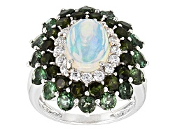 OCH270<br>1.14ct Ethiopian Opal, 1.22ctw Light & .8octw Dark Green Tourmaline, .51ctw White Zircon S