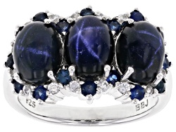 OCH509<br>5.99ctw Blue Star Sapphire And .68ctw Blue Sapphire With .28ctw White Zircon Silver 3-ston