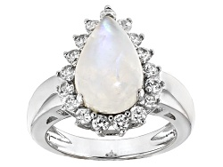 OCH555<br>Pear Shape Cabochon Rainbow Moonstone With .85ctw White Zircon Sterling Silver Ring