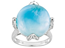 NGH256<br>Round Cabochon Larimar With .30ctw Round White Zircon Sterling Silver Ring