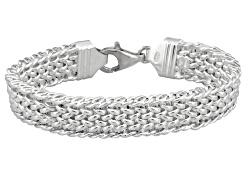 SVR522<br>Sterling Silver Designer Woven Link 7 1/2 Inch Bracelet