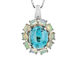 NGH457<br>11x9mm Oval Cabochon Turquoise With .93ctw Oval Ethiopian Opal Sterling Silver Pendant Wit