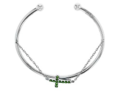 DJH125<br>.44ctw Round Russian Chrome Diopside Sterling Silver East/West Cross Bracelet