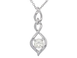 MSN866<br>Moissanite Fire(R) .80ct Diamond Equivalent Weight Round Platineve(Tm) Pendant With Chain