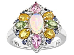 DJH396<br>.42ct Oval Ethiopian Opal, 1.96ctw Multi-sapphire And .19ctw White Zircon Sterling Silver