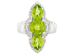 JCH022<br>3.47ctw Round And Pear Shape Manchurian Peridot(Tm) With .47ctw Round White Zircon Silver