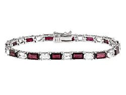 JCH023<br>13.00ctw Baguette Red Garnet And 6.50ctw Oval White Topaz Sterling Silver Bracelet