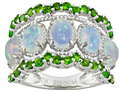 JCH030<br>2.17ctw Oval Ethiopian Opal With 1.11ctw Round Russian Chrome Diopside Sterling Silver Rin