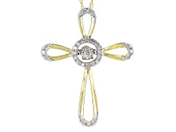DOCN062<br>.10ctw Round White Diamond 10k Yellow Gold Cross Dancing Diamond Pendant With 18inch Rope