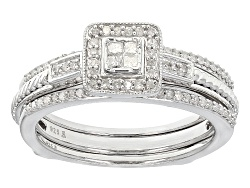 ESD010<br>.33ctw Round And Princess Cut White Diamond Rhodium Over Sterling Silver Quad Ring