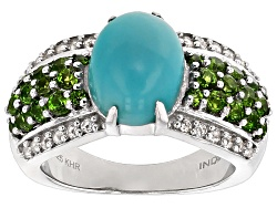DOCY972<br>10x8mm Oval Turquoise With .88ctw Chrome Diopside And .24ctw White Topaz Sterling Silver