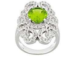 JCH145<br>3.23ct Oval Manchurian Peridot(Tm) With 1.64ctw Round White Topaz Sterling Silver Ring
