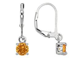 JCH337<br>1.05ctw Round Spessartite Garnet Sterling Silver Dangle Earrings
