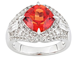 BCH149<br>3.46ct Square Cushion Lab Created Padparadscha Sapphire With 1.10ctw White Topaz Silver Ri
