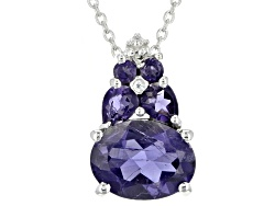 BCH152<br>1.88ctw Oval, Pear Shape And Round Purple Iolite With .01ctw White Zircon Silver Pendant W
