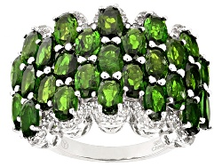 DOCX120<br>6.41ctw Oval Russian Chrome Diopside And .56ctw Round White Zircon Sterling Silver Ring