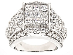 BJQ389<br>Bella Luce (R) 5.97ctw Diamond Simulant Rhodium Over Sterling Silver Ring (3.30ctw Dew)