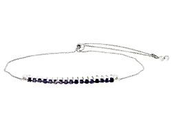 SMH130<br>.51ctw Round Iolite Sterling Silver Sliding Adjustable Bracelet
