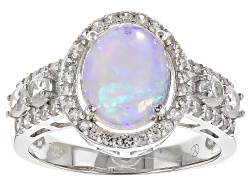 DOCX170<br>1.50ct Oval Cabochon Ethiopian Opal And 1.25ctw Round White Zircon Sterling Silver Ring