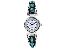 SWT4<br>Southwest Style By JTV (TM) Turquoise Mop Dial Sterling Silver Cuff Watch
