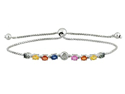 YAH050<br>1.97ctw Oval Green, Blue, Orange, Yellow And Pink Sapphire  Silver Sliding Adjustable Brac