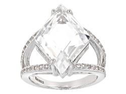 RRH298<br>11.00ct Crystal Quartz With .84ctw Round White Zircon Sterling Silver Ring