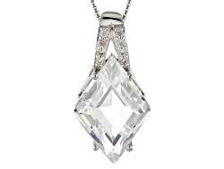 RRH299<br>11.00ct Crystal Quartz With .19ctw Round White Zircon Sterling Silver Pendant With Chain